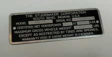 STUDEBAKER MODEL SERIAL NUMBER DATA PLATE ID TAG ZINC 1946 1947 1948 1949