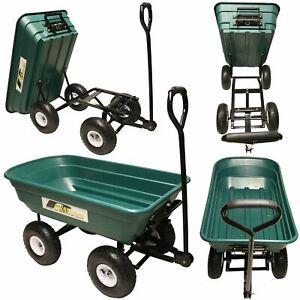 Garden Tipping Cart Dump Truck Barrow Trolley Trailer Gardening Pull