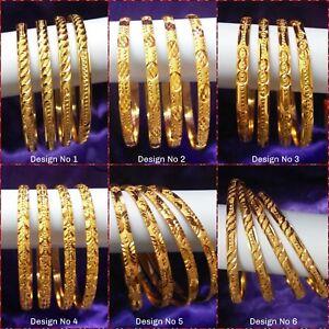 22k 24K Gold Plated 4Pcs Indian Bridal Bangle Bracelet Set Fits Large Size Wrist