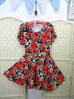 VINTAGE floral red tea dress 40 style fit & flare festival boho  skater S/M