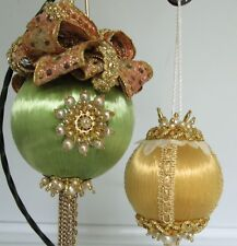 2 Victorian Fancy Beaded w/Ribbon Vintage Style Christmas Ornaments~Green/Gold~