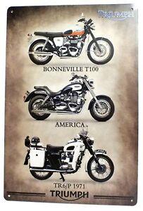 Triumph Motorcycle Metal Tin Wall Door Garage Sign Plaque 30 x 20 cm