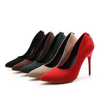 Ladies Womens Fashion Faux Suede High Heel Pumps Court Shoes UK Size 1--11 F325