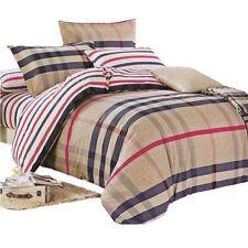Camel Plaid Quilt Cover Pillow Case Queen Duvet Covers 4Pcs Cotton Bedding Sets