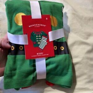 Wondershop White/Green/Red Elf Pajama Set, Size 8