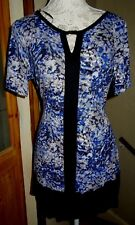 GEORGE BLACK/BLUE/WHITE STRETCH JERSEY S/S TUNIC DRESS+BAR @NECK 16/18 BNWOT