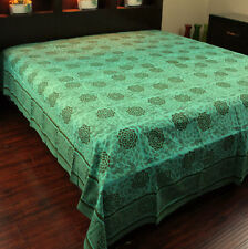 Cotton Blossom Floral Tapestry Tablecloth Bedspread Beach Sheet Queen Green