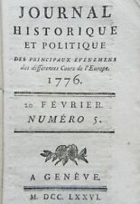 RARE : JOURNAL HISTORIQUE ET POLITIQUE - PANCKOUCKE - N°5 EDITION ORIGINALE 1776