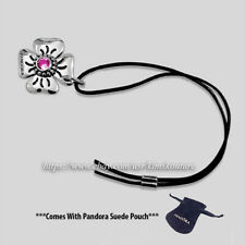 Authentic Pandora Daisy Clasp Opener, Pink CZ & Black Leather 890000PCZ