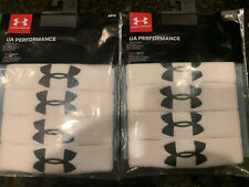 """Under Armour UA Performance 1"""" Unisex Wristbands Sweatbands TWO 4-Packs WHITE"""