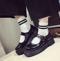 Women Platform Mary Janes Lolita Round Toe Block Heels Ankle Strap Shoes Cosplay