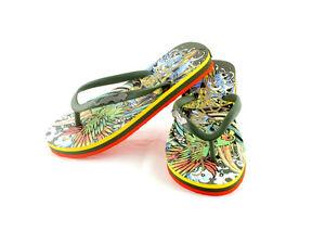ED HARDY Cancun Luxury Womens Patterned Flip Flops