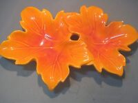 HEAGER POTTERY DOUBLE LEAF CONDIMENT / CANDY DISH ORANGE COLOR