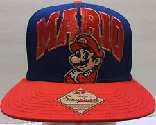 NWOT Super Mario Blue Red Snapback Hat Nintendo Bros. Plumber Game Embroidered