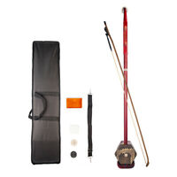 Wooden 2 String Erhu Instrument Chinese Violin Fiddle Huqin with Accessories