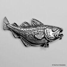 COD Fish Pewter Broche-British Handcrafted-Mer Pêche Morue de Roche Pêche