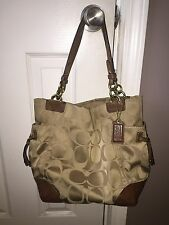 Coach Bag Signature Tote Hobo Brown Beige Suede Authentic Gold Metal Hardware
