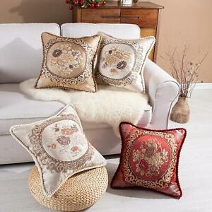 Jacquard Cushion Covers 20 x 20 OR Filled in Damask Floral Sofa & Bed Pillows