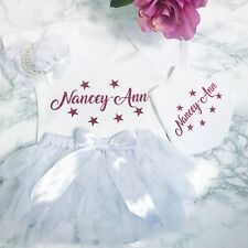 Baby Girls Personalised Party Outfit, Cake Smash Photo Shoot Birthday Present