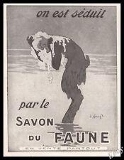 "1920 Faun washing with soap "" FAUNE "" Original  Advert Art Print Ad -  Z1"