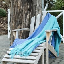 CRESWICK ALPACA WOOL LUXURY LOUNGE COUCH BED THROW BLANKET FRINGE TEAL RRP $199