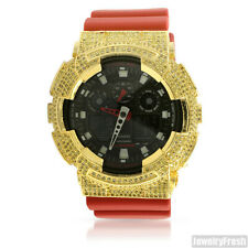 Red and Yellow Iced Out Bezel Casio G-Shock GA-100 Watch