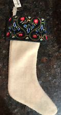 Midwest Season of Canon Falls Wool Blend Stocking w/ Embroidered Flowers ~ 9""