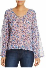 Sanctuary Lila Lace-Up Bell Sleeve Floral Blouse Size X-Small - 100% Exclusive