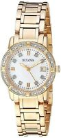 Bulova Women's Quartz Diamond Accents Gold-Tone Bracelet 26mm Wrist Watch 98R135