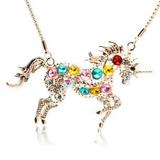 Woman Colorful Crystal Steed Horse Unicorn Pendant Necklace Sweater Chain CHIC