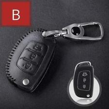 For Hyundai 3 button folding Car Key Case Bag Leather cover type B black 1pc