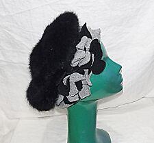 60S style RETRO BERET HAT JANES BLACK CROWN GREY SURROUND & FELT FLOWERS O/S