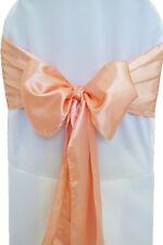 """300 Peach Satin Chair Cover Sash Bows 6"""" x 108"""" Banquet Wedding Made in USA"""