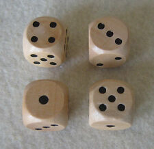 """16mm 5/8"""" Set of 4 Wooden Dice with Bag (set of d6, pips, wood)"""