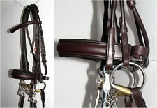 Fss German Havana Brown Padded Rolled Comfort Crank Double Dressage Bridle Reins