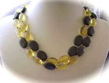 SALE!  Golden Sheen Obsidian Necklace with Golden Citrine Ovals & 14K GF Beads