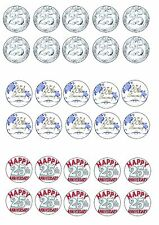 25TH SILVER ANNIVERSARY EDIBLE RICE WAFER PAPER CUP CAKE TOPPER X30