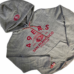 San Francisco 49ers Hooded Sweatshirt Medium Men's Hoodie NFL Gray Velvet Logo