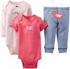 Carter's Baby Girls 2-pack Bodysuits & Pants Set Clothes, GBC-B04 (Bird), 6 mos