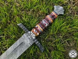 "38"" Inches New Custom Handmade Damascus Steel Sword Mixed Resin Handle"