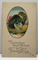 Thanksgiving Good Wishes Greeting Colorful Turkey Postcard F12