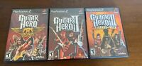 Lot Of 3 Playstation 2 PS2 Guitar Hero Aerosmith, 2 & 3 Games Complete - Tested