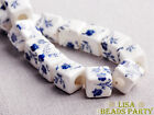 20pcs 10mm Blue Flowers Cube Square Ceramic Porcelain Big Hole Loose Beads