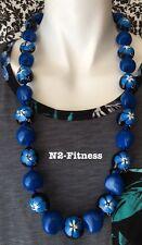 Hawaii Wedding BLUE Kukui Nut Lei Graduation Luau Hula Necklace Hibiscus Solid