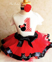 Minnie Mouse Red Black White Baby Girl 1st First Birthday Tutu Outfit Shirt Set