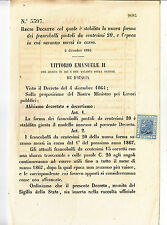 W108-VITT.EM.II°-SAGGIO  20 CENT SU DECRETO DEL 2/12/1866