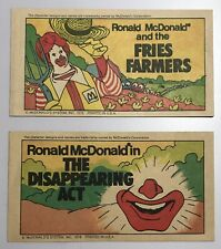 McDonalds 1978 Vintage Lot Of 2 Paper Comic Books Booklets Ads Advertising