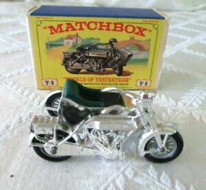 VINTAGE MATCHBOX MOY-Y-8- 1914- SUNBEAM MOTORCYCLE W MILFORD SIDECAR-W BOX