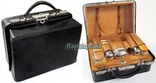 Antique 1890s Ladies Vanity Beauty Grooming Fitted Black Leather Travel Case