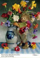 Ansichtskarte  Mecki (Diehl-Film): Glückwunsch Geburtstag, Blumenstrauß 1970